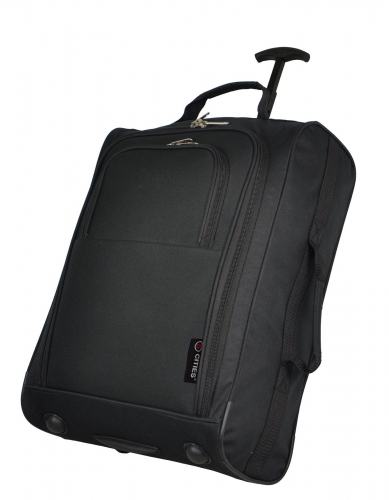 5 Cities 2 of Black Cabin Luggage Trolley Suitcases Wheeled Hand Bag Travel Carry 42L
