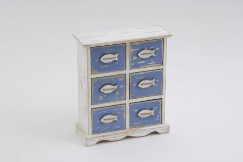 6 Fish Drawer Small Cabinet 26cm made from Plywood White & Blue