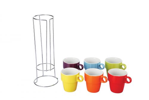 Colours 6 Piece Mug Set With Stand 220ml Cups Tea Coffee Mugs