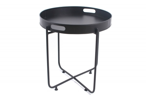 47X50 Black Tray Table Iron Made Great For Tea Coffe Or Home Conservatory Decoration