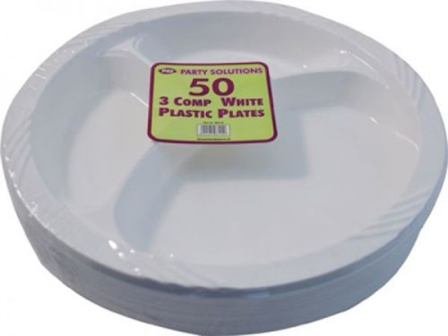 50 Pack 3 Compartment Plastic Plates Disposable Party Tableware