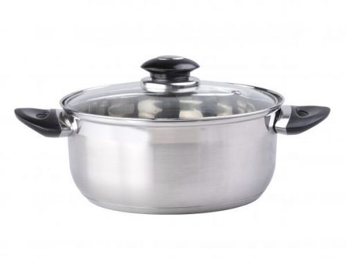 Limetime Cooking 16cm Stainless Steel 6.0L Casserole Pan with Glass Lid