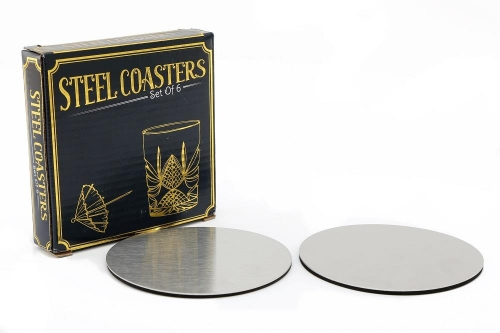 Set Of 6 Stainless Steel Coasters Set