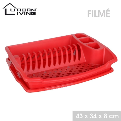 Plastic Dish Draining Rack With Tray Red