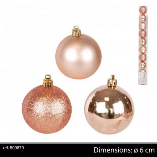 10Pk Christmas Baubles  Rose Gold D6