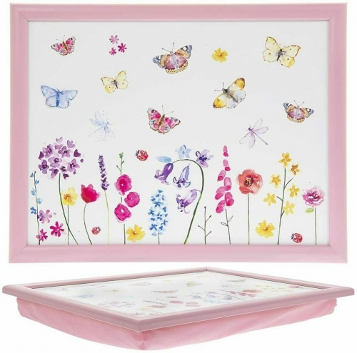 Butterfly Garden Lap Tray Cushioned Bean Bag Padded
