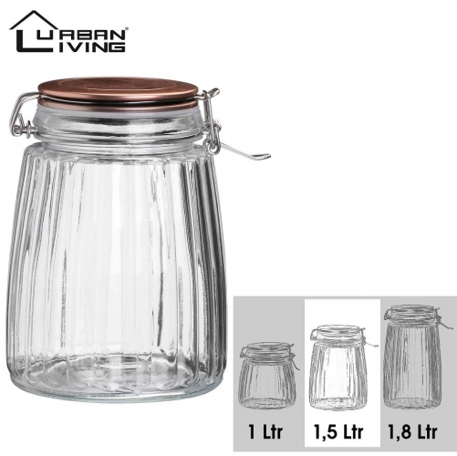1.5L Copper Clip Top Food Cereal Rice Preserving Glass Jar Storage Canister