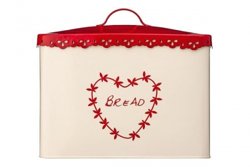 Steel Bread Bin Cream and Red Food storage container