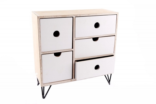 27X26.9Cm 5 Drawer Cabinet With Wire Leg Home Office Storage Unit