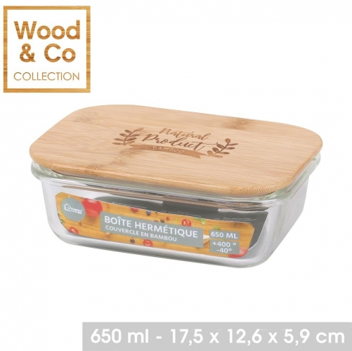 650ML Air Tight Glass Food Container With Bamboo Lid