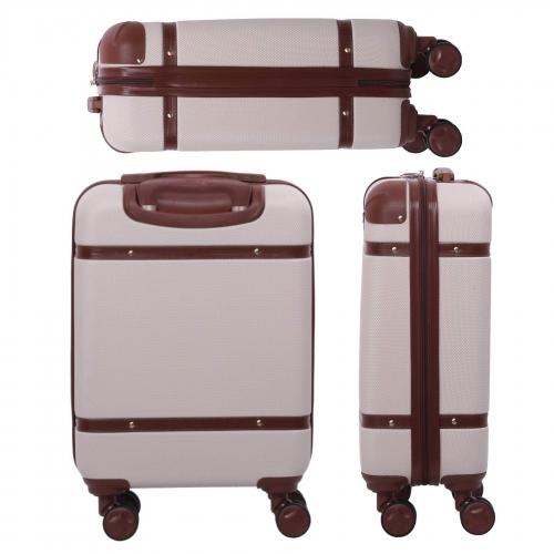 Aerolite Stylish Vintage Hard Shell Hand Cabin Luggage with 4 Wheels 55x35x20