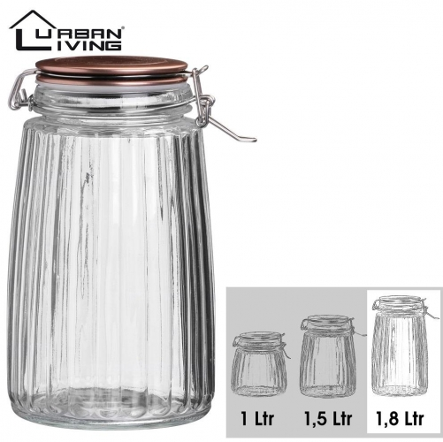 1.8L Copper Clip Top Food Cereal Rice Preserving Glass Jar Canister