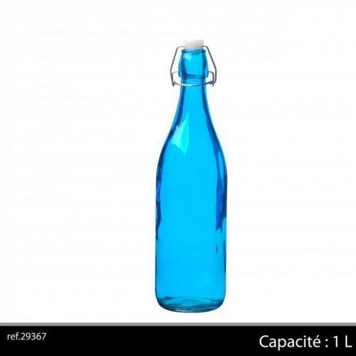 1Ltr Glass Bottle Blue
