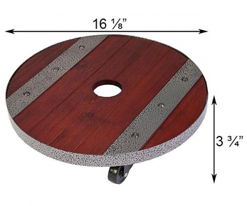 16 Inch Round Heavy Weight Wood Plant Caddy