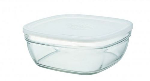 Duralex Lys Square Stacking Bowl With Frosted Lid 23Cm Single