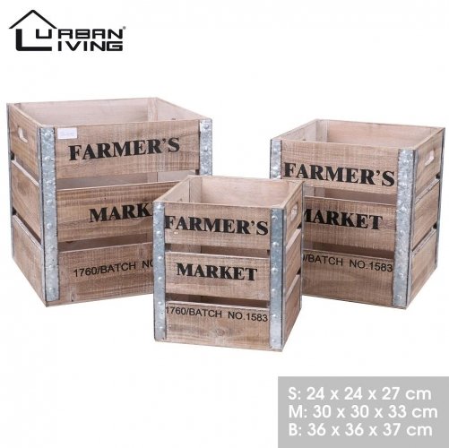 Set of 3 Wooden Storage Boxes with out Lid