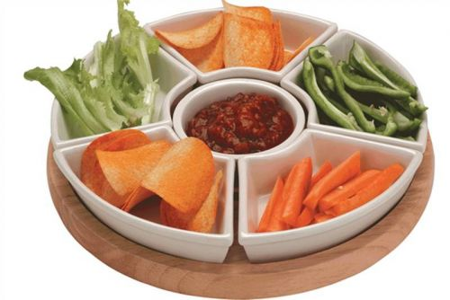 Havea Wood Lazy Susan with Ceramic Dishes