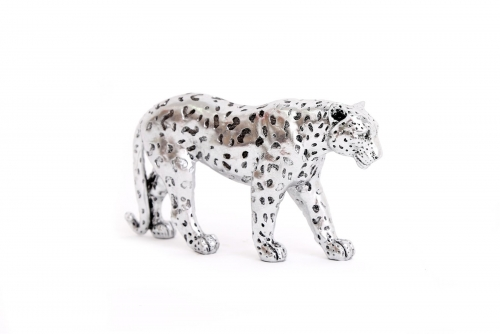 Silver Painted Glitter Effect Leopard Large Ornament