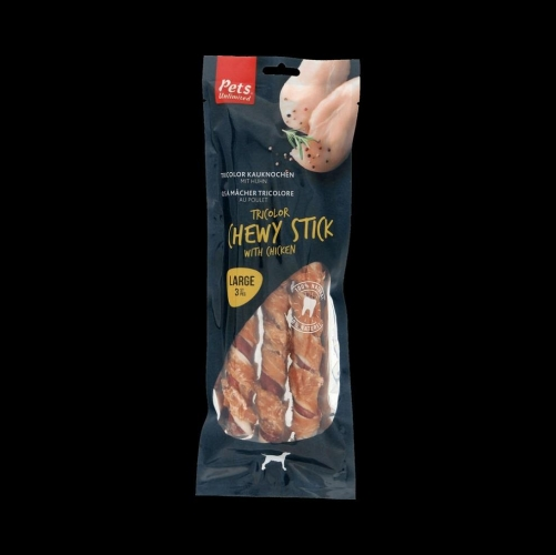 Pets Unlimited Tricolor Chewy Sticks Large With Chicken 3 Pieces