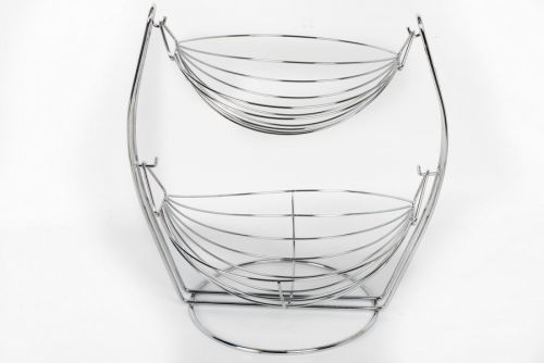 36CM 2 TIER WIRE HANGING BOWL FRUIT VEGETABLE BASKET