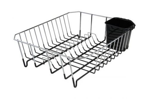 Dish Drainer Chrome Black Can Be Used For Drying Dishes & Cutlery