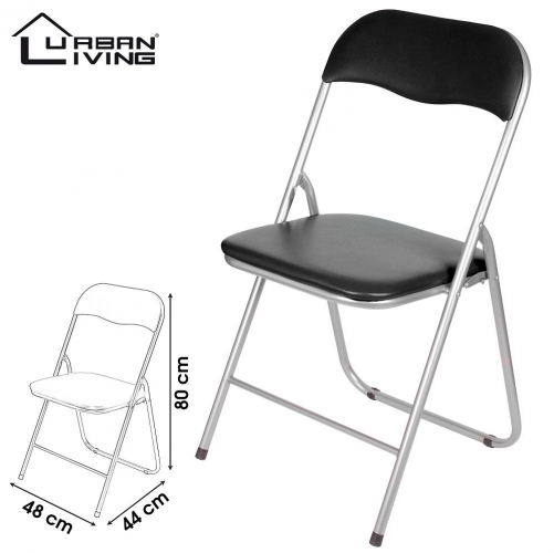 Folding Chair Black Pvc Wipe Down Padded Seat