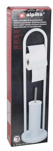 Alpina Toilet Brush & Holder 22x80cm White Plastic