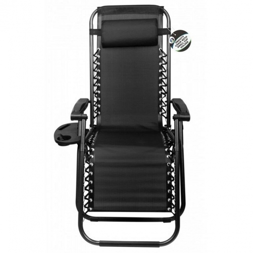 Gravity Chair With Cup Holder Black Outdoor Garden