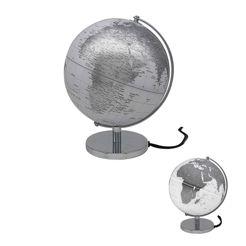 Rotating World Globe Silver and White Light Up Ornament