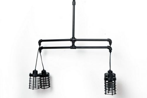 150Cm 4 Light Cagewire Metal Pendant Ceiling Lights Black Home Decoration