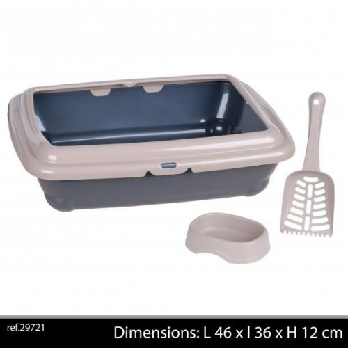 Cat Litter Tray With Bowl And Scoop Grey