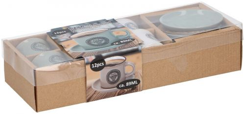 12 Piece Ceramic Espresso Mini Coffee Mug Cup & Saucer Gift Boxed Set 89 ml