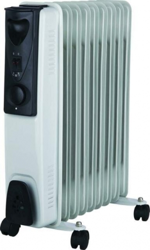 2kW 9 Fin Oil Filled Radiator with Adjustable Thermostat Home Workshop