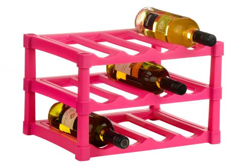 3 Tier Hot Pink Wine Rack for 12 Bottles made from Plastic