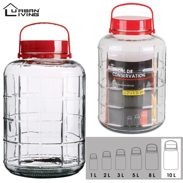 10L Glass Jar Food Preserve Seal-able Airtight Container With Red plastic lid