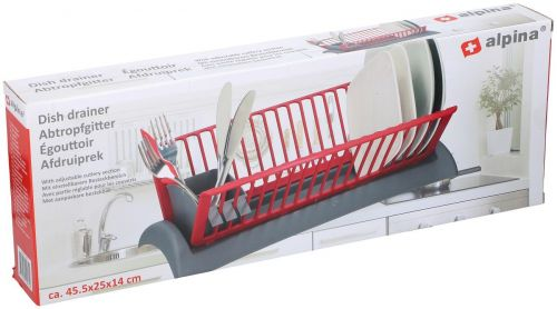 Dish Drainer Rack With Tray and Cutlery Section Draining Compact Space Saver46x26x14