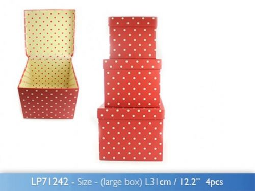Set of 3 Dotty Red Boxes For Gift or Storage