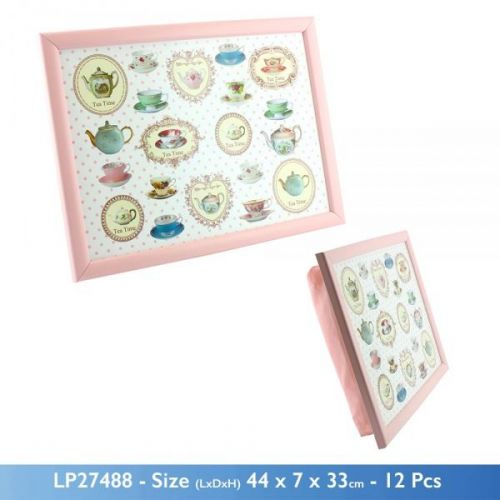 44x33CM TEA TIME PARTY LAPTRAY WITH BEAN BAG BASE