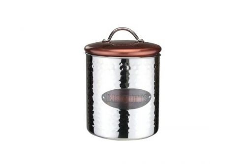 Copper Canister Biscuits Storage Idea Home Restaurant Cookies Shop Stylish Look Aluminium Hammered Design With Lid 14.5Cm(D)X17Cm(H)