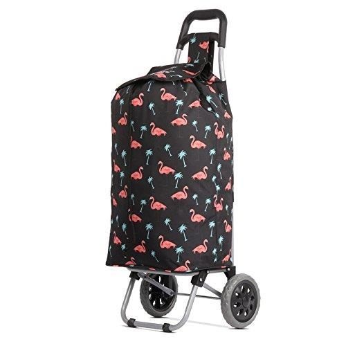 Hoppa Light shopping trolley 47L Black with Flamingos strong
