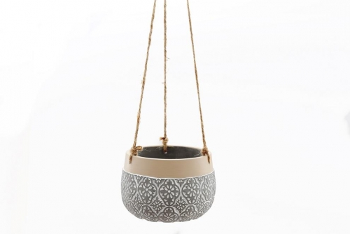 Hanging Grey Embossed Planter Small