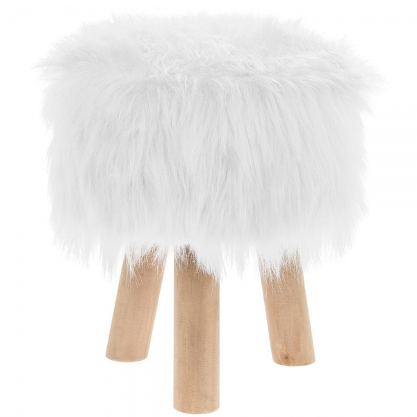 Luxury Round White Furry Foot Stool Wooden