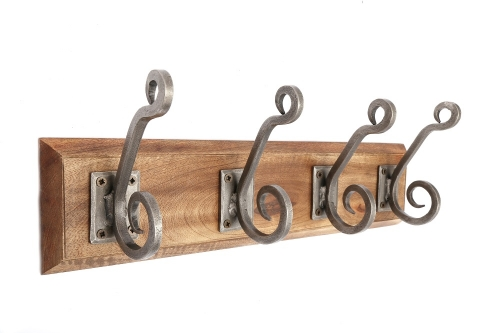 4 Double Metal Wall Hooks On Wooden Base