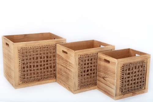 Set Of 3 Square Wooden Boxes With Rope Lovley Design