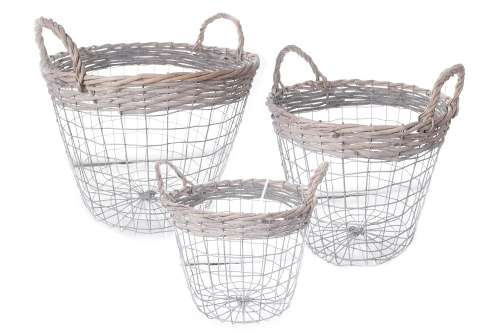 Set Of 3 Wire Round Baskets Nice Design