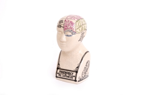 Antique Style Small Phrenology Head Crackle Unusual Gift