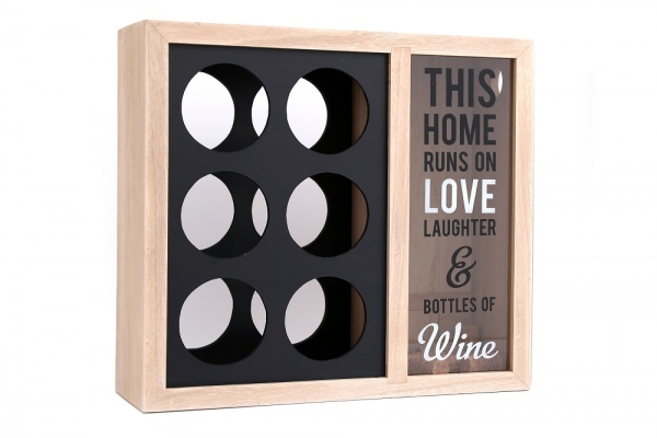 6 Bottle Wooden Wine Holder Rack Stylish