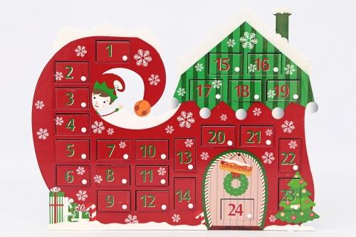 Countdown To Christmas Wooden Advent Calendar Freestanding Elf