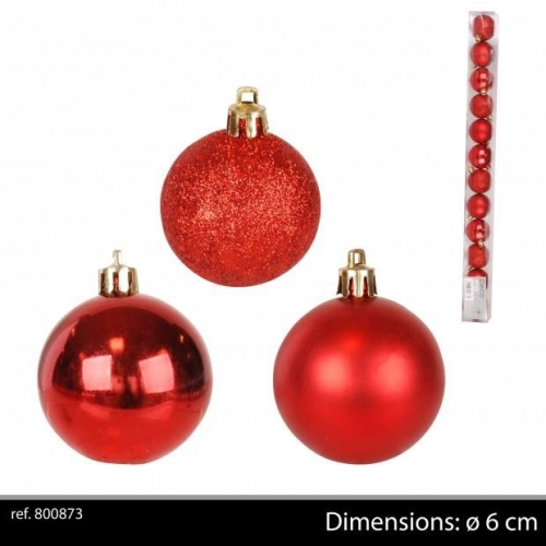 12Pk Christmas Baubles Red D5
