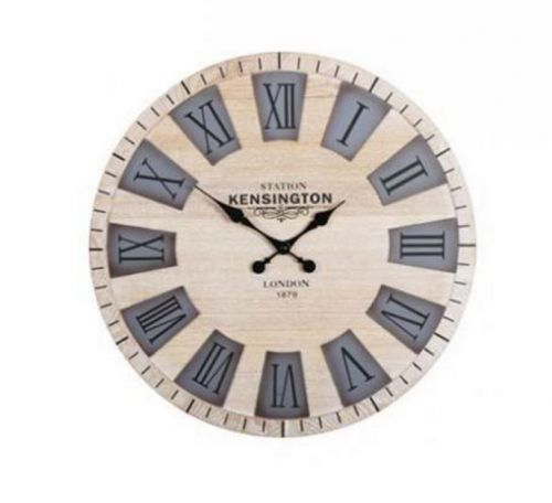 50X50X3Cm Kensington Wooden Cut Out Wall Clock Roman Numbers Home Kitchen Office